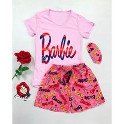 Pijama dama ieftina bumbac cu tricou roz si pantaloni scurti roz cu imprimeu Barbie