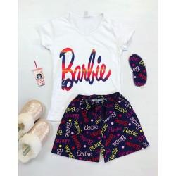 Pijama dama ieftina bumbac cu tricou alb si pantaloni scurti bleumarin cu imprimeu Barbie