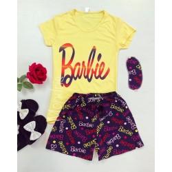 Pijama dama ieftina bumbac cu tricou galben si pantaloni scurti bleumarin cu imprimeu Barbie