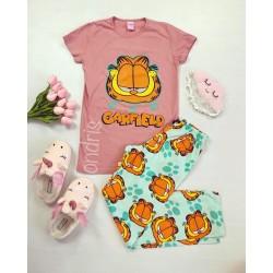 Pijama dama ieftina bumbac cu tricou roz si pantaloni lungi albastri cu imprimeu Garfield