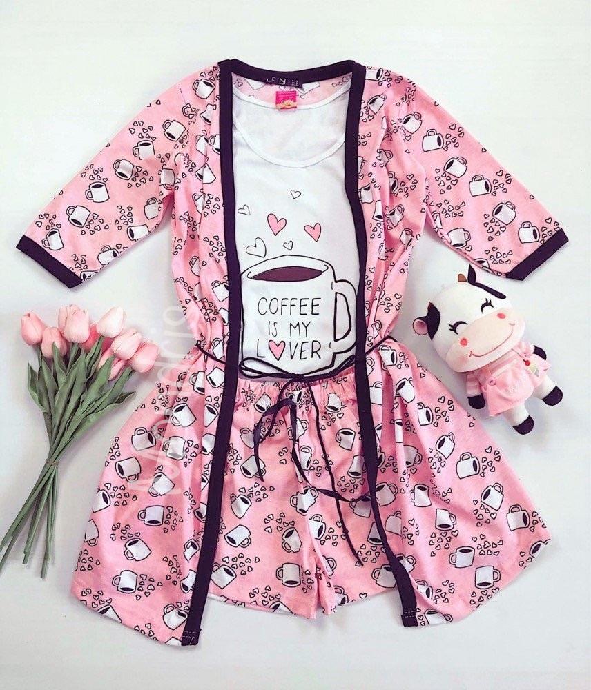 Set dama Pijama 3 piese alcatuit din maieu + pantaloni scurti + halat imprimeu Coffee is my lover