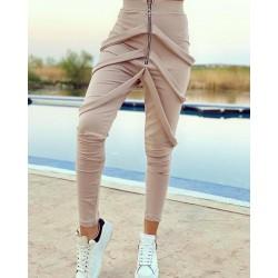 Pantaloni dama lungi crem cu fermoar si bretele