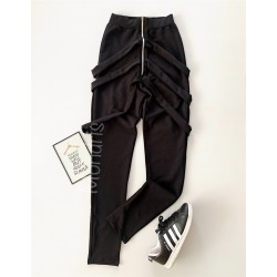 Pantaloni dama lungi negri cu fermoar si bretele