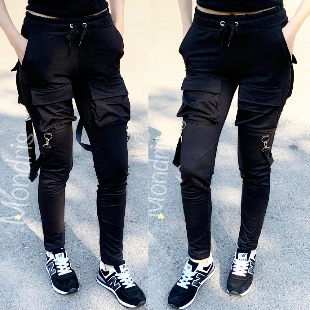 Pantaloni dama lungi ieftini negri cu buzunare mari si bretele