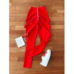 Pantaloni dama lungi rosii cu fermoar si bretele