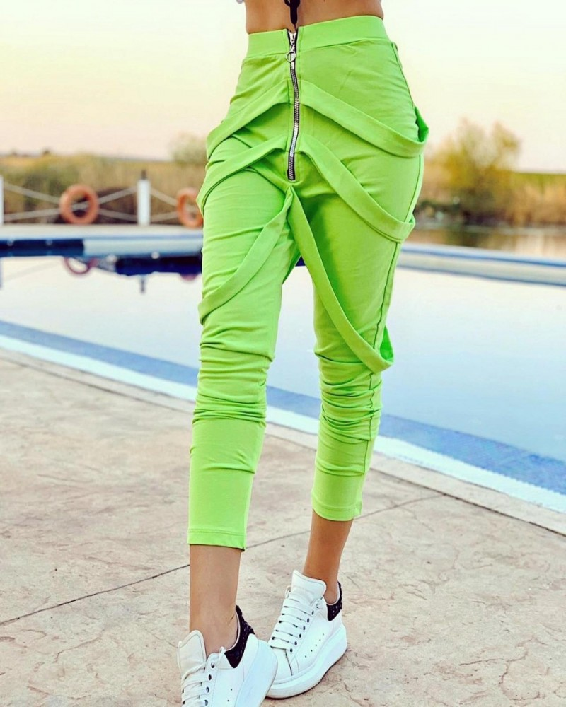 Pantaloni dama lungi verzi cu fermoar si bretele