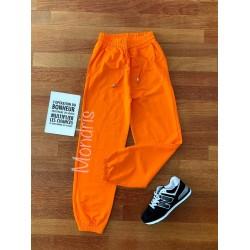 Pantaloni dama lungi portocalii cu elastic si buzunare