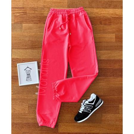 Pantaloni dama lungi roz neon cu elastic si buzunare