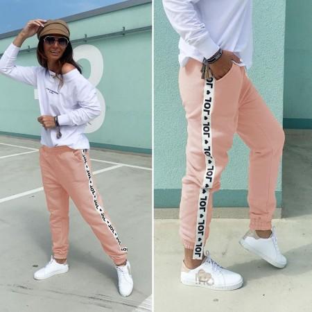 Pantaloni dama casual roz tip jogger cu dunga alba