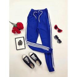Pantaloni dama ieftini albastri cu dungi laterale albe