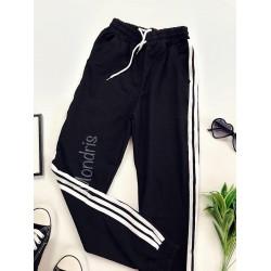 Pantaloni dama ieftini negri cu dungi laterale albe