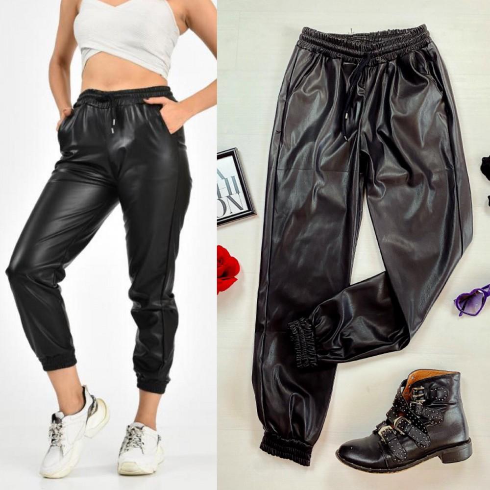 Pantaloni tip joggeri dama lungi negri cu aspect lucios