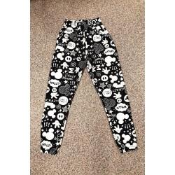 Pantaloni dama lungi negri tip colanti din bumbac cu imprimeu MK
