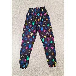 Pantaloni dama lungi negri tip colanti din bumbac cu imprimeu PY colorat
