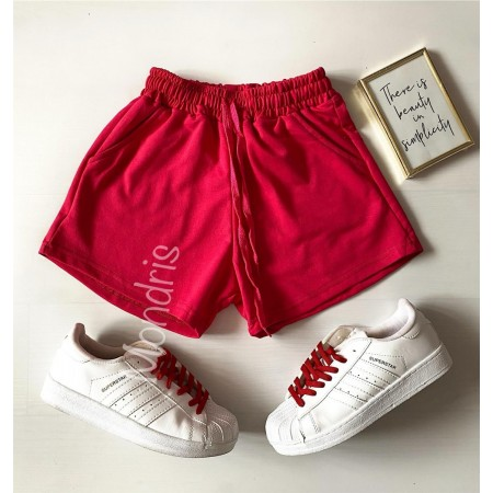 Pantaloni dama scurti sport rosii simpli