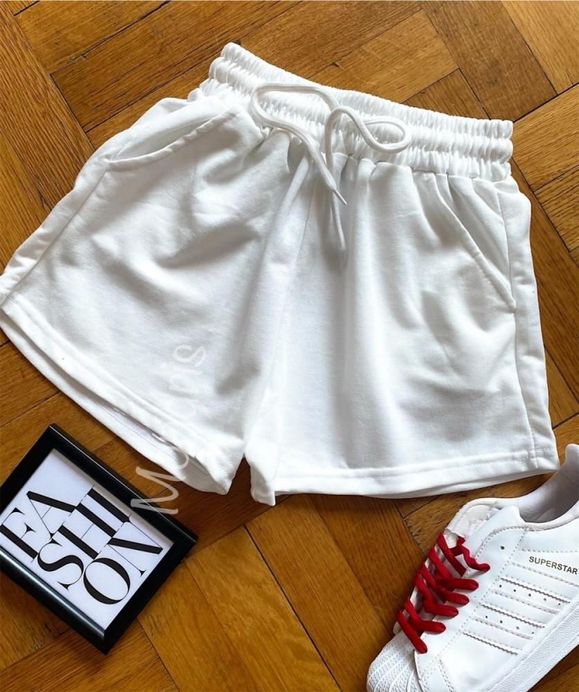 Pantaloni dama scurti sport albi simpli