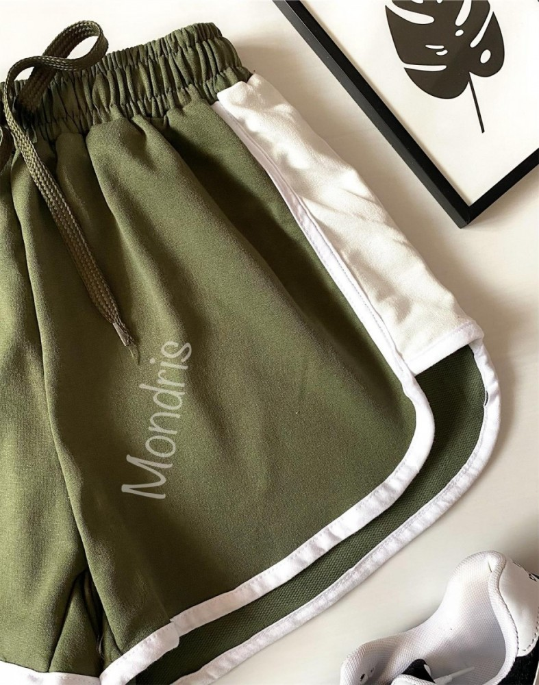 Pantaloni dama scurti sport khaki cu dungi laterale albe