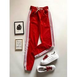 Pantaloni dama tip jogger rosii cu dungi laterale albe