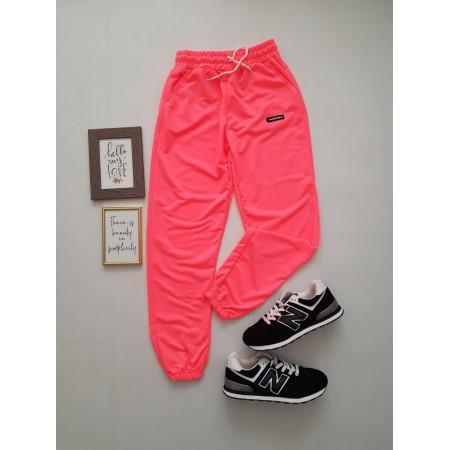 Pantaloni dama lungi roz neon cu elastic si buzunare cu text NEON