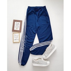 Pantaloni dama ieftini tip jogger bleumarin cu dungi laterale albe