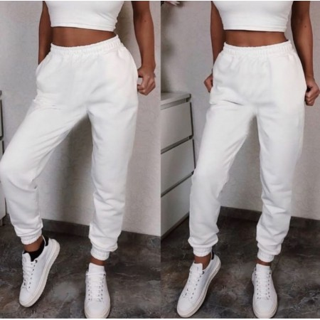 Pantaloni dama lungi de tip jogger din bumbac albi cu elastic si buzunare