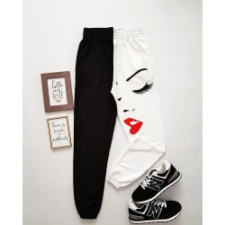 Pantaloni dama casual half alb/negru tip jogger cu imprimeu Girl