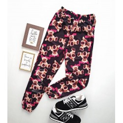 Pantaloni dama casual negri colorati tip jogger cu imprimeu Urs