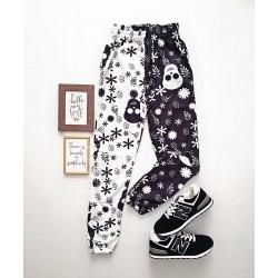 Pantaloni dama casual half alb/negru tip jogger cu imprimeu Skull
