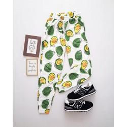 Pantaloni dama casual colorati tip jogger cu imprimeu Avocado