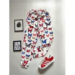 Pantaloni dama casual albi colorati tip jogger cu imprimeu Fluturi