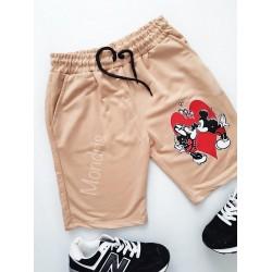Pantaloni dama scurti sport crem cu imprimeu Cuplu