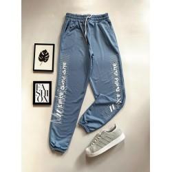 Pantaloni dama casual albastri tip jogger cu imprimeu Since Day One