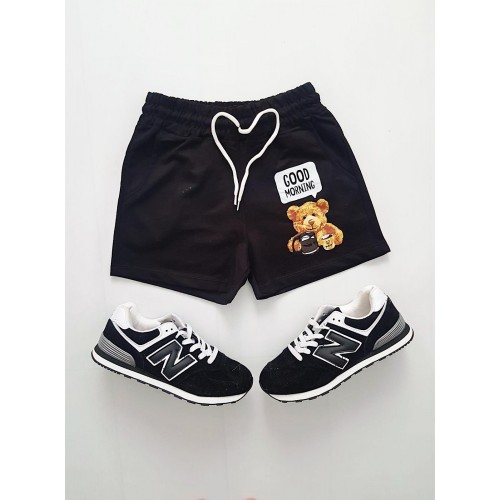 Pantaloni dama scurti sport negri cu imprimeu Urs