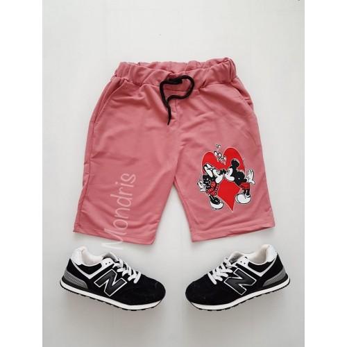 Pantaloni dama scurti sport roz cu imprimeu Cuplu