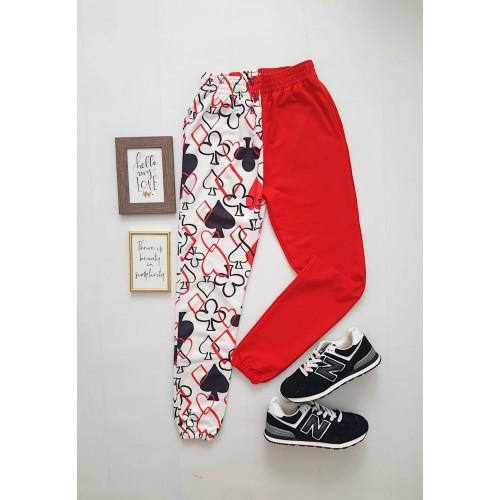 Pantaloni dama casual half alb/rosu tip jogger cu imprimeu Poker