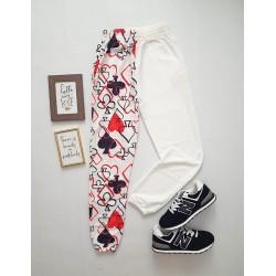 Pantaloni dama casual half alb/alb tip jogger cu imprimeu Poker