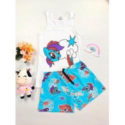 Pijama dama bumbac primavara-vara cu pantaloni scurti albastri si maieu alb cu imprimeu Unicorn