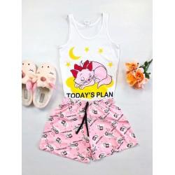 Pijama dama bumbac primavara-vara cu pantaloni scurti roz si maieu alb cu imprimeu Today's plan
