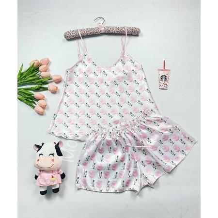 Pijama dama ieftina primavara-vara alb Lady cu imprimeu Girl & Balloon