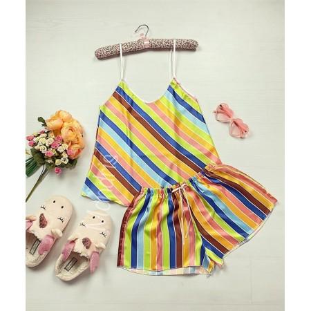 Pijama dama ieftina primavara-vara galben Lady cu dungi colorate