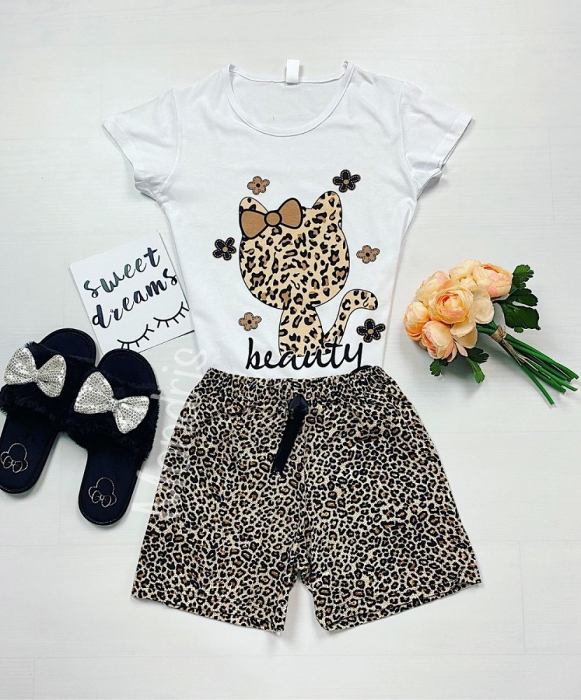 Pijama dama ieftina bumbac cu tricou alb si pantaloni scurti cu imprimeu HK animal print