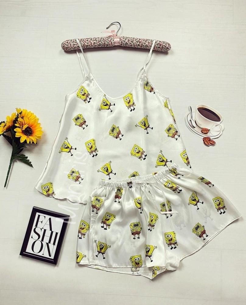 Pijama dama ieftina primavara-vara alb din satin lucios cu imprimeu SB