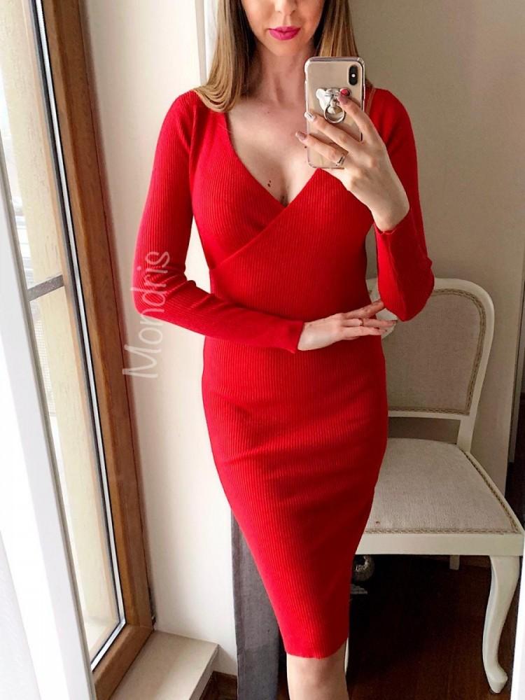 Rochie ieftina casual eleganta din tricot rosie cu decolteu