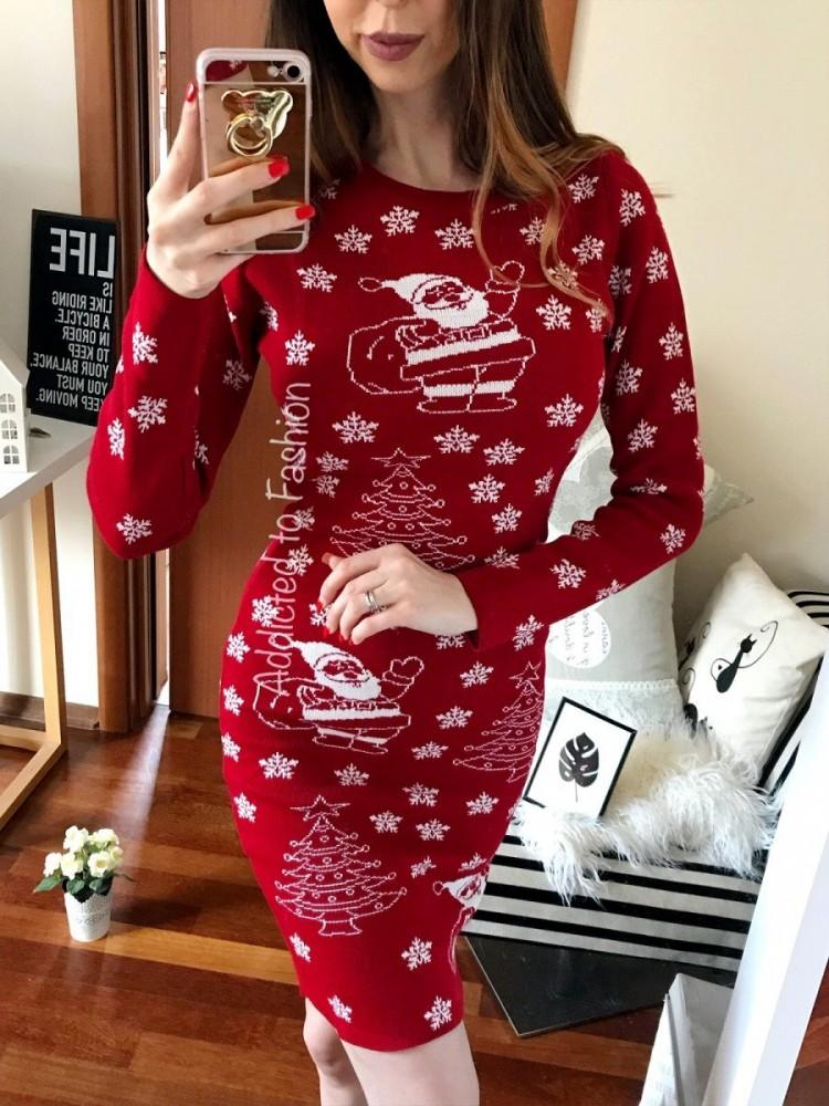 Rochie ieftina din tricot rosie cu model Mos Craciun