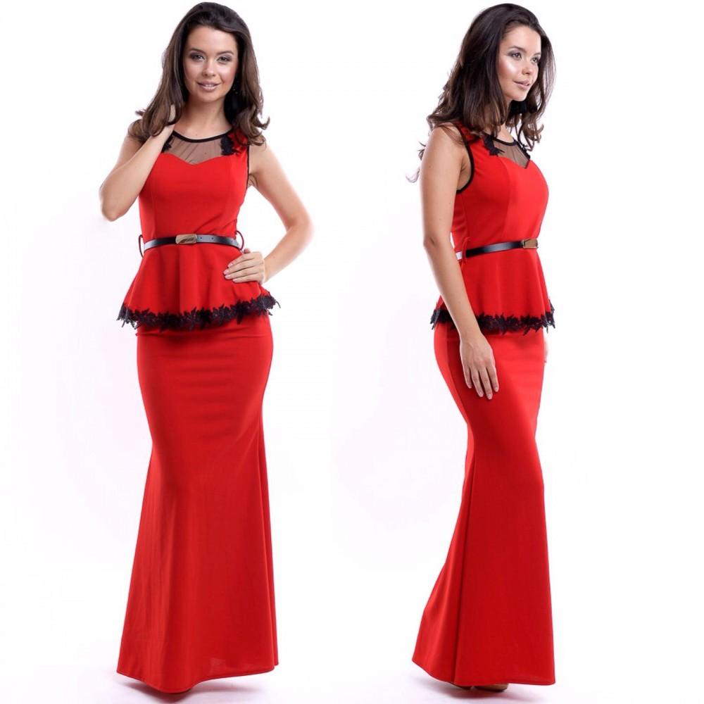 Rochie de seara lunga rosie cu aplicatii din broderie si curea inclusa