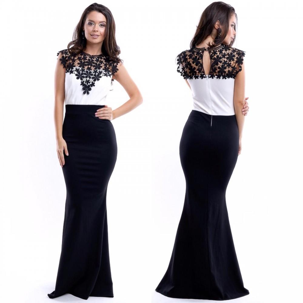 Rochie de seara lunga neagra cu corset alb si aplicatii din broderie