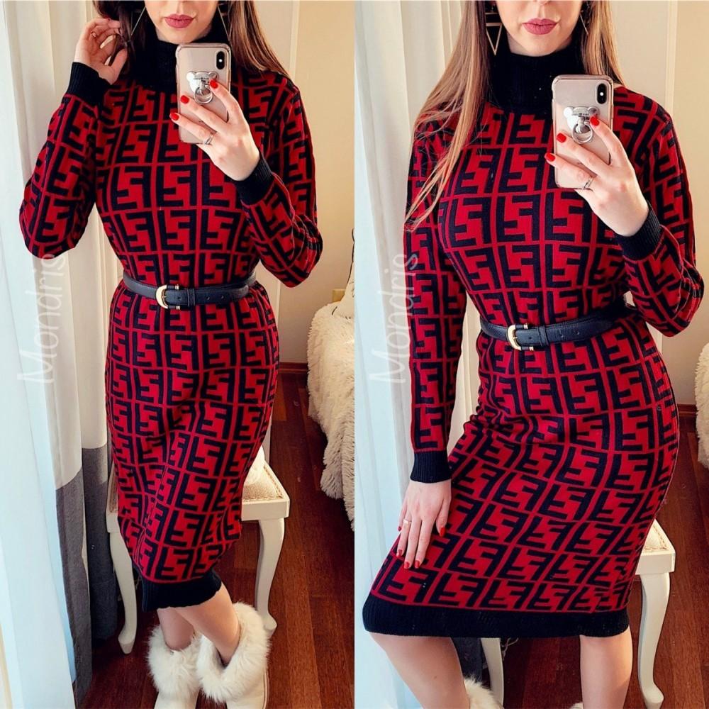Rochie ieftina de zi din tricot rosie cu imprimeu geometric