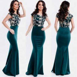 Rochie de seara lunga verde inchis cu corset brodat