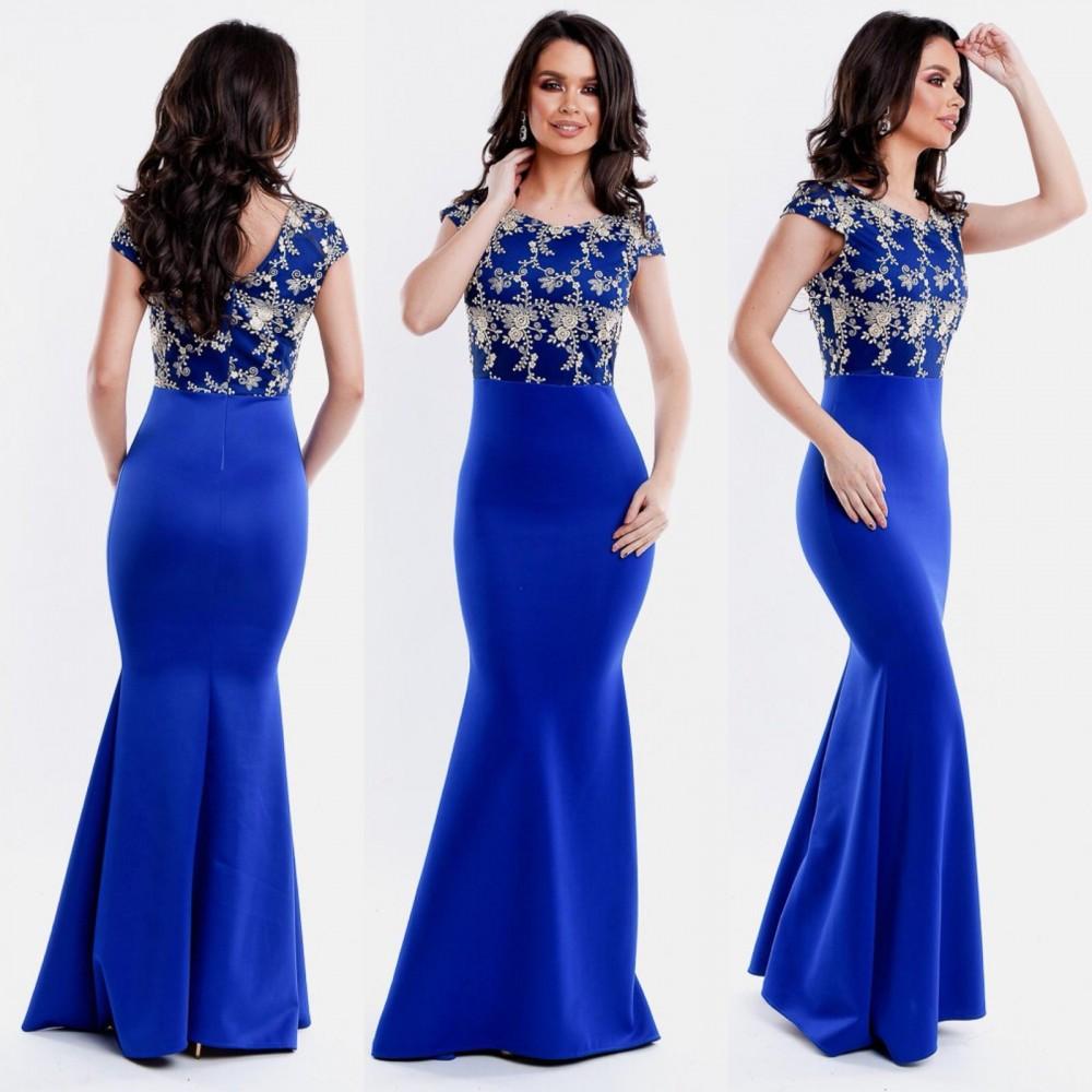 Rochie de seara lunga albastra cu corset brodat
