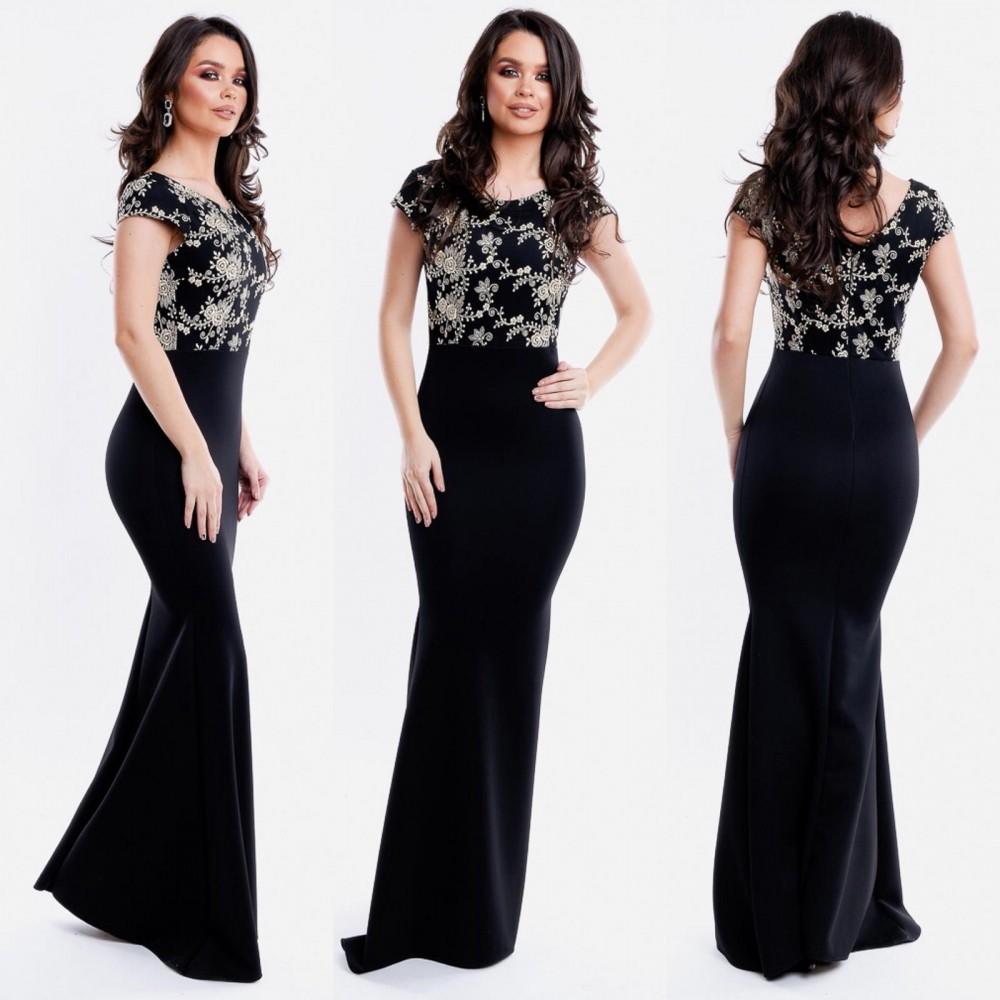 Rochie de seara lunga neagra inchis cu corset brodat